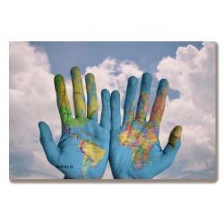 Mapa świata Świat ręce...