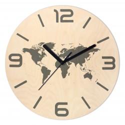 Zegar Drewniany Mapa świata